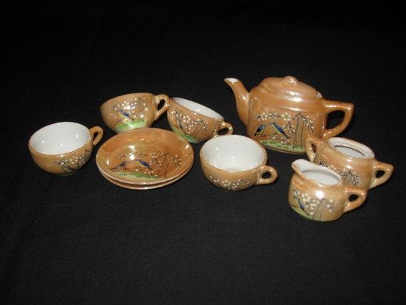 9 Piece Childs Tea Set Lusterware With Birds Design Vintage
