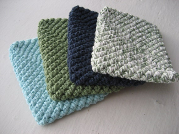 Crocheted Cotton Dish Scrubber / Washable Sponge Set of 4 - Sage Green, Robins Egg Blue, Denim, and Variegated Green