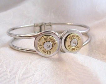 Bangle Ammo Bracelet - hinged closed with two .45 caliber bullets - 9mm, 45 caliber, 40 caliber, 30-30, 38, or any other caliber