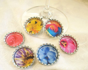 Flower Wine Charm - Bottle Cap Wine Charms with close ups of springtime flower - set of 6