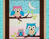Baby Quilt - Baby Blanket - Flannel - Multi Colored Owl  Print - for a Girl - Made to Order