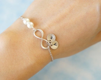 Infinity Bracelet with Pearls and Two Initial Charms. Bridesmaid Gift. Everyday Bracelet. Girlfriend Gift. Birthday Gift.