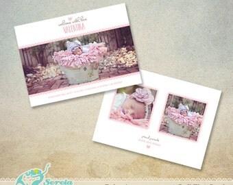 Birth Announcement Flat Card Photoshop Template PSD - S0036