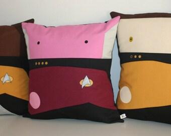 Star Trek TNG inspired Trio Captain  Picard, Data, Worf  pillow cushion cover 40x40 cm 16x16 inches