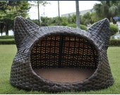 Cute lovely rattan cat house for your lovely cat with washable cushion