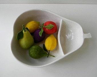 vintage large mid century white pear bowl