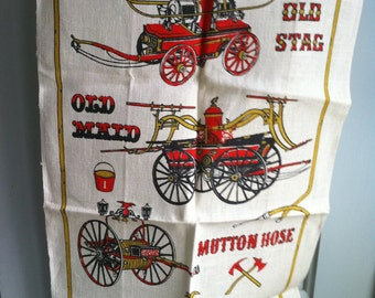 MINT Vintage Linen Towel Antique Fire Engines