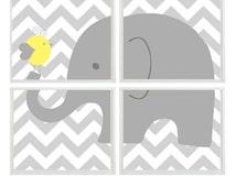 Elephant Nursery Art, Yellow Gray Chevron, Neutral Nursery Art, Boy Wall Art, Elephant Bird Print, Gray Chevron Decor, Wall Art,