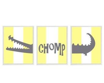 Alligator Nursery Wall Art Print Set ()  - Gray Yellow Stripes Gator Decor Chomp - Children Kid Baby Boy Room - Home Decor