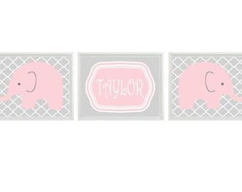 Elephant Nursery Wall Art Print - Pink Gray Decor - Name Personalize Customize Children Baby Girl Room - Wall Art Home Decor  -  Prints