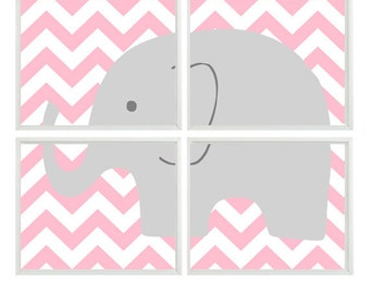 Elephant Nursery Art Print    - Chevron Pink Gray Decor - Children Kid Baby Girl Room - Wall Art Home Decor