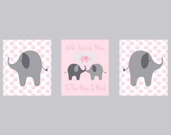 Nursery Art Elephant Girl Nursery Prints - Polka Dots Pink Gray - I Love You To The Moon Quote -  Nursery Decor Playroom Rules -