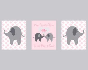 Nursery Art Elephant Girl Nursery Prints - Polka Dots Pink Gray - I Love You To The Moon Quote -  Nursery Decor Playroom Rules -