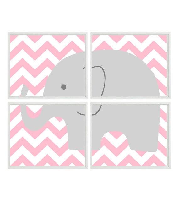 Elephant Nursery Art Prints - Chevron Pink Gray Decor - Children Kid Baby Girl Room - Wall Art Home Decor