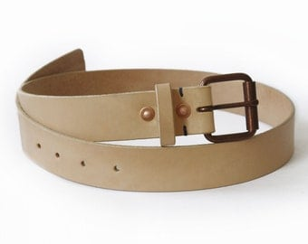 Mens Handmade Natural Veg-tan Leather Belt, Copper Buckles and Rivets