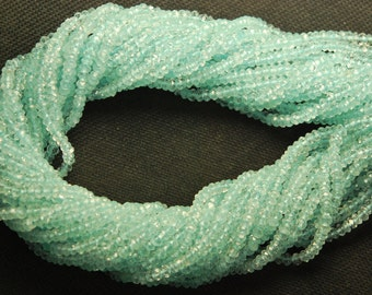 3x14 Inch,3.5-4mm,SUPERB-FINEST-AAA Quality,Full Strand, Aquamarine Faceted Rondells