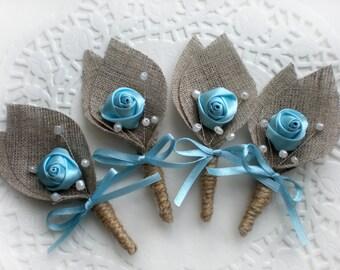 Set of 4- Blue Flower burlap Boutonniere (buttonhole)