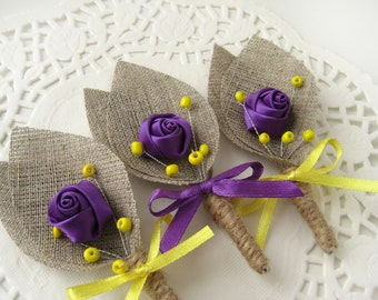 Set of 10- Purple Flower burlap Boutonniere (buttonhole)-Yellow & Purple