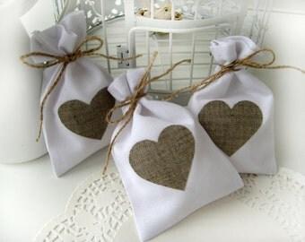 Set of 40 -Wedding favor bagsWhite Rustic Linen Wedding Favor Bag ...