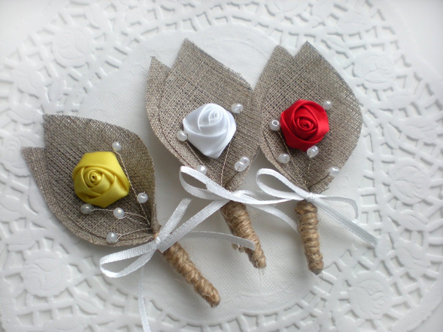 Burlap Groom's Boutonniere For Wedding Rustic Bout With