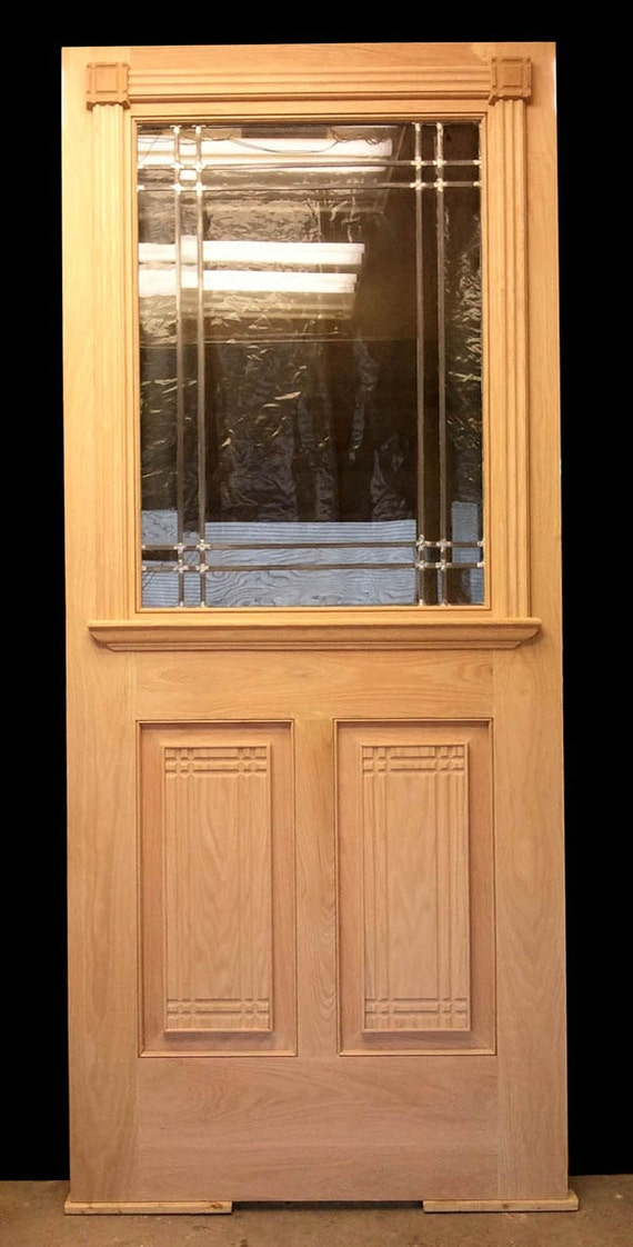 36x84x2 new arts crafts exterior entry oak by for Wooden back doors with glass