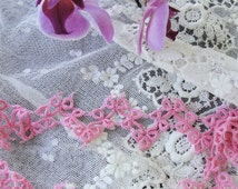 Vintage PINK Hand Tatted Lace Tatting Trim Pretty Pattern Great For Baby Bonnets Dolls Pillows Clothing