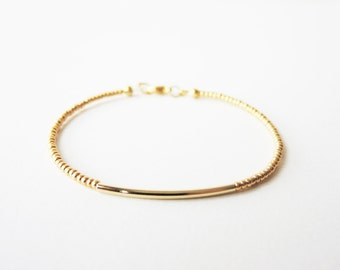 Gold bar bracelet - Gold beaded bracelet