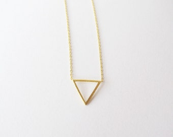Open Triangle necklace // Geometric jewelry - Gold