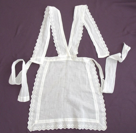 Early 1900s Vintage White Serving Maid Apron With Eyelet Trim