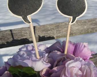 Rustic CHALKBOARD Speech Bubble Cake Topper. Set Of Two. You CHOOSE The COLORS. Custom Orders Welcome.