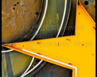 Neon Las Vegas Signs, Brown Wall Art, Rustic Photography, Brown Yellow Star, Earth Tone Wall Art, Neon Boneyard Fine Art Photography