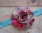 Bright Pink Peacock Shabby Chic Headband..Newborn Headband..Baby Girl Headband..Headband..Infant Headband..Baby Headband.Flower Headband