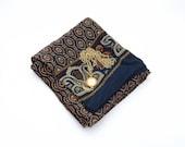 Vintage SILK paisley dark blue scarf / unisex