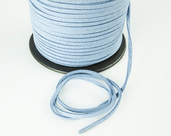 Baby Blue Suede Cord,  Faux Leather, 3mm, Pkg of 20 ft., S0DP.SU04.L20F