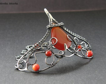 Aine- wire wrapped bracelet, carnelian, coral, sterling and fine silver, handmade, wirework