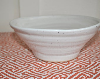 Speckled White Pottery Serving Bowl