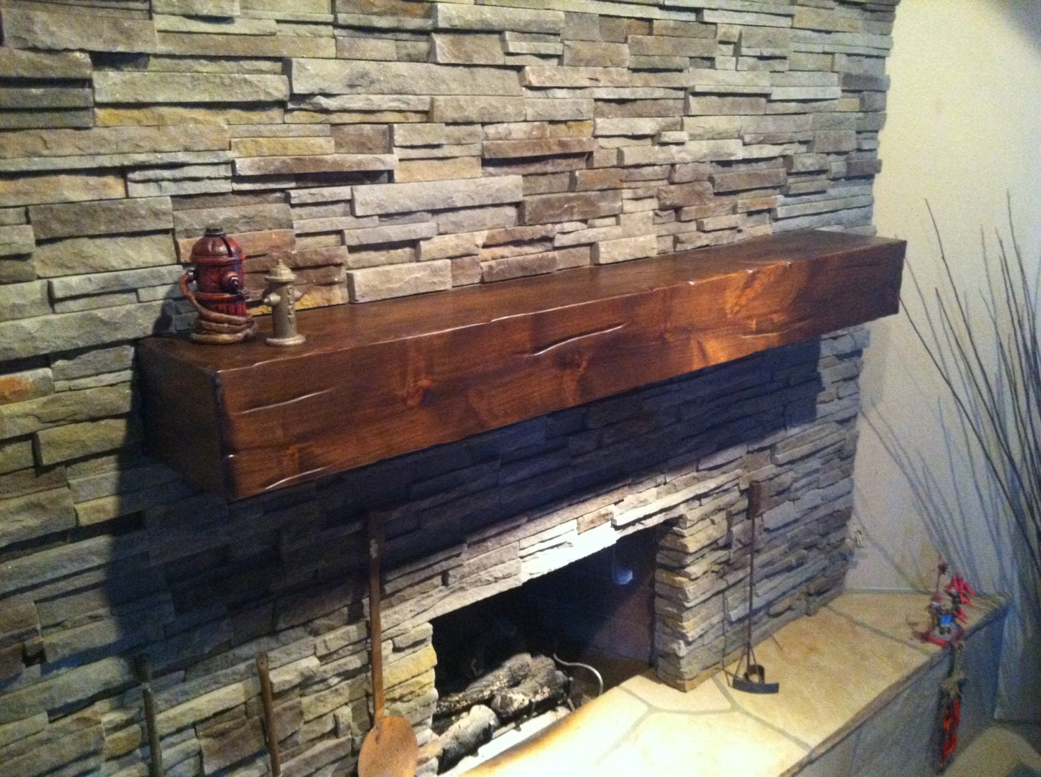 Knotty Alder Wood Fireplace Shelf Mantel