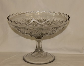 Clear Press Glass Compote Dish