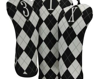 Black Tie Argyle Head Cover Set