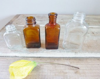 Bottles old vintage small set clear glass and amber rustic vases home decor X 4