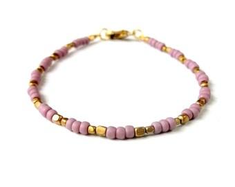 Dainty Seed Bead Bracelet Brass Beaded Friendship Bracelet - Purple - Boho Jewelry Bohemian Jewelry Tribal Jewelry Simple Stackable Bracelet