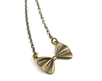 Little Vintage Bow Tie Necklace, Bowtie Necklace, Antique Brass Bowtie