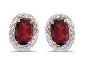 1.20 Oval Ruby & Diamond Earrings 14K Yellow Gold - Allurez