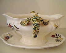 Superb Antique early 1900s Rouen fruit or flower bowl, organic floral & moth or butterfly design in great condition by Boch Freres Keramis