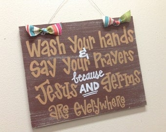 Custom Hand-Painted JESUS and GERMS sign on 12x15 wood for bathroom or classroom