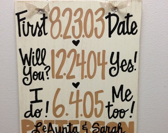 Custom Hand-Painted Wedding Anniversary Announcement with Dates on 12x15 distressed wood sign gift Valentines Day