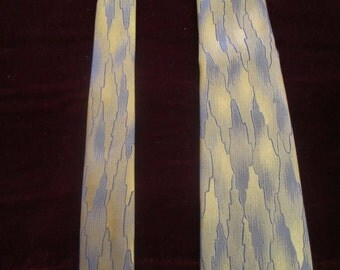 Vintage Gold and Navy Blue Silk Neck Tie, Don Loper, ca Late 1950s - Early 1960s