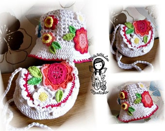 Crochet PATTERN, Hat, Purse, Handbag for your Princess, 2 PIECES, DIY Pattern 40, Instant Download
