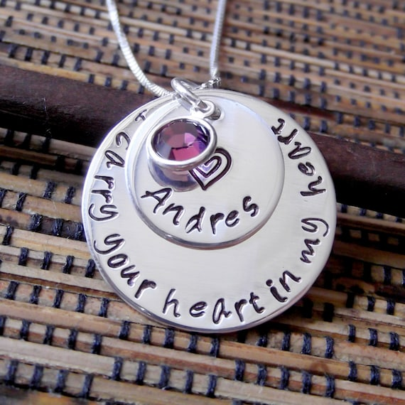 I Carry Your Heart- Hand Stamped Memorial Necklace- Remembrance Necklace- Memorial Jewelry- Remembrance Jewelry