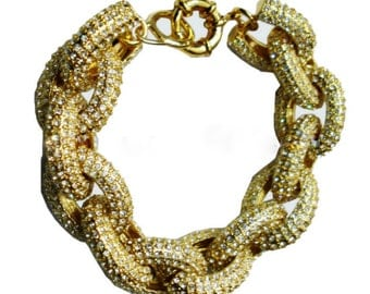 Pave Bracelet, Link Bracelet,  Bracelet, Jewelry, Statement Bracelet, Gold, Crystals,